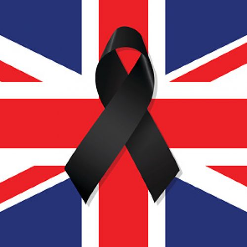 UK flag with black ribbon vector